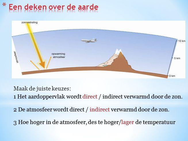 Maak de juiste keuzes: 1 Het aardoppervlak wordt direct / indirect verwarmd door de zon. 2 De atmosfeer wordt direct / indirect verwarmd door de zon.