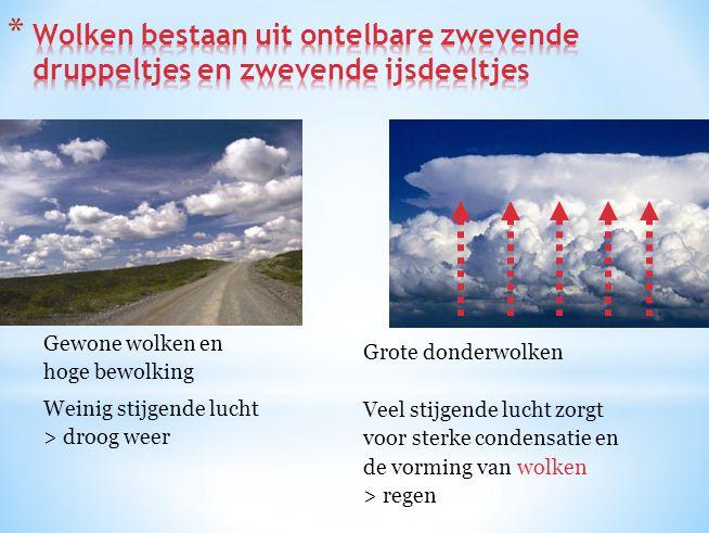 Gewone wolken en hoge bewolking Grote donderwolken Veel stijgende lucht zorgt voor sterke condensatie en de vorming van wolken > regen Weinig stijgend