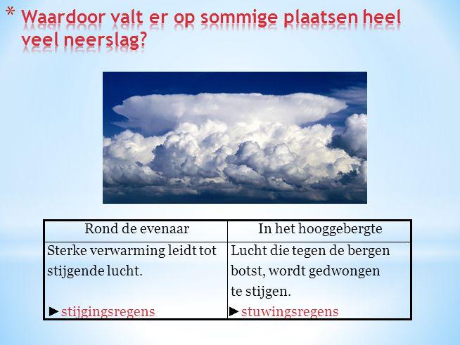 Lucht die tegen de bergen botst, wordt gedwongen te stijgen. ► stuwingsregens Sterke verwarming leidt tot stijgende lucht. ► stijgingsregens In het ho