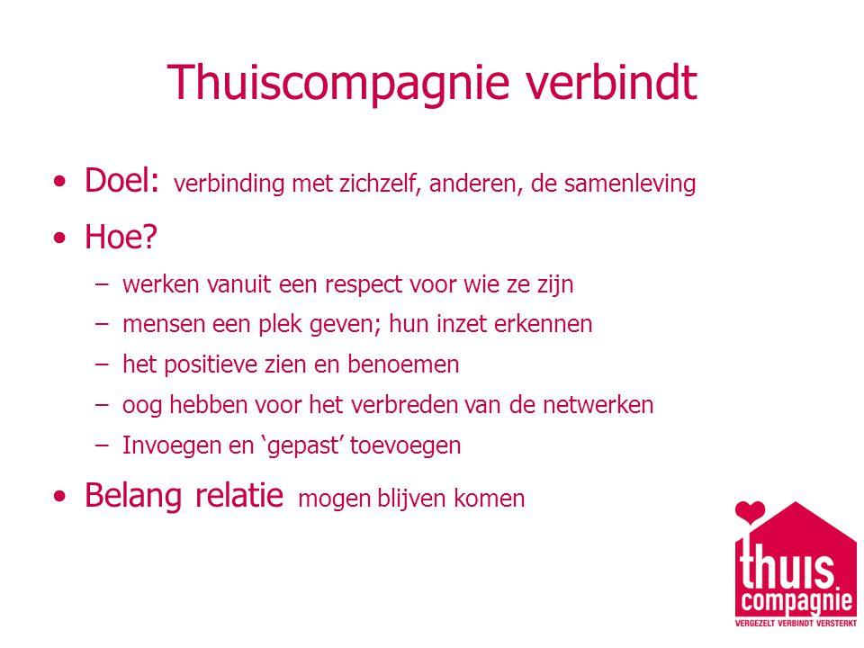 Thuiscompagnie verbindt Doel: verbinding met zichzelf, anderen, de samenleving Hoe.