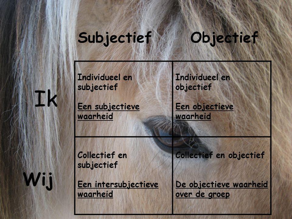 Individueel en subjectief Een subjectieve waarheid Individueel en objectief Een objectieve waarheid Collectief en subjectief Een intersubjectieve waar