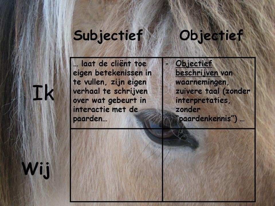 … laat de cliënt toe eigen betekenissen in te vullen, zijn eigen verhaal te schrijven over wat gebeurt in interactie met de paarden… -Objectief beschr