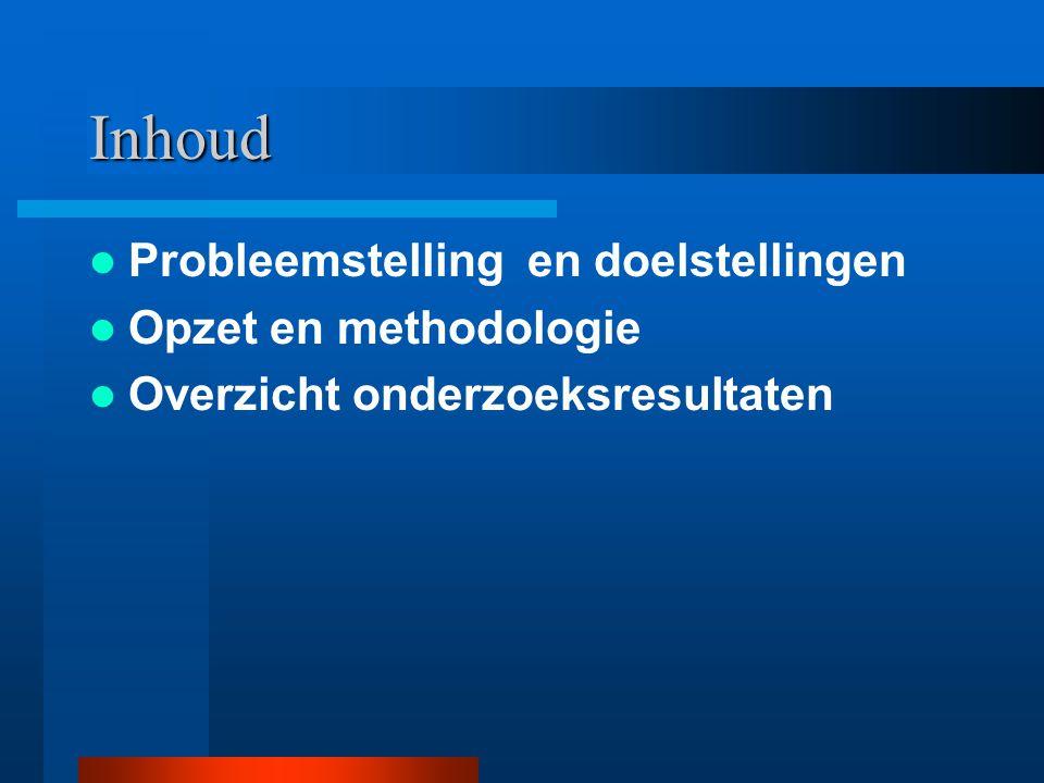 Inhoud Probleemstelling en doelstellingen Opzet en methodologie Overzicht onderzoeksresultaten