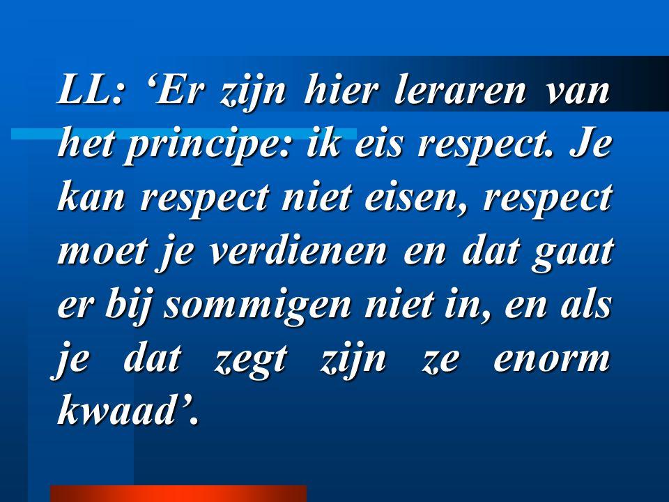 LL: 'Er zijn hier leraren van het principe: ik eis respect. Je kan respect niet eisen, respect moet je verdienen en dat gaat er bij sommigen niet in,