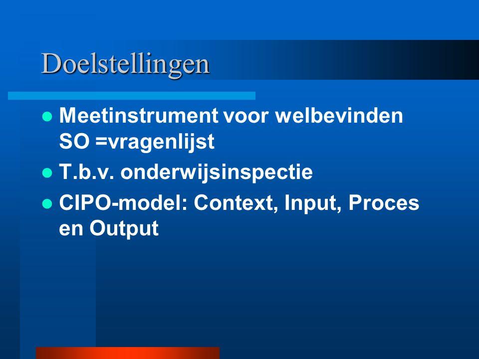 Doelstellingen Meetinstrument voor welbevinden SO =vragenlijst T.b.v. onderwijsinspectie CIPO-model: Context, Input, Proces en Output