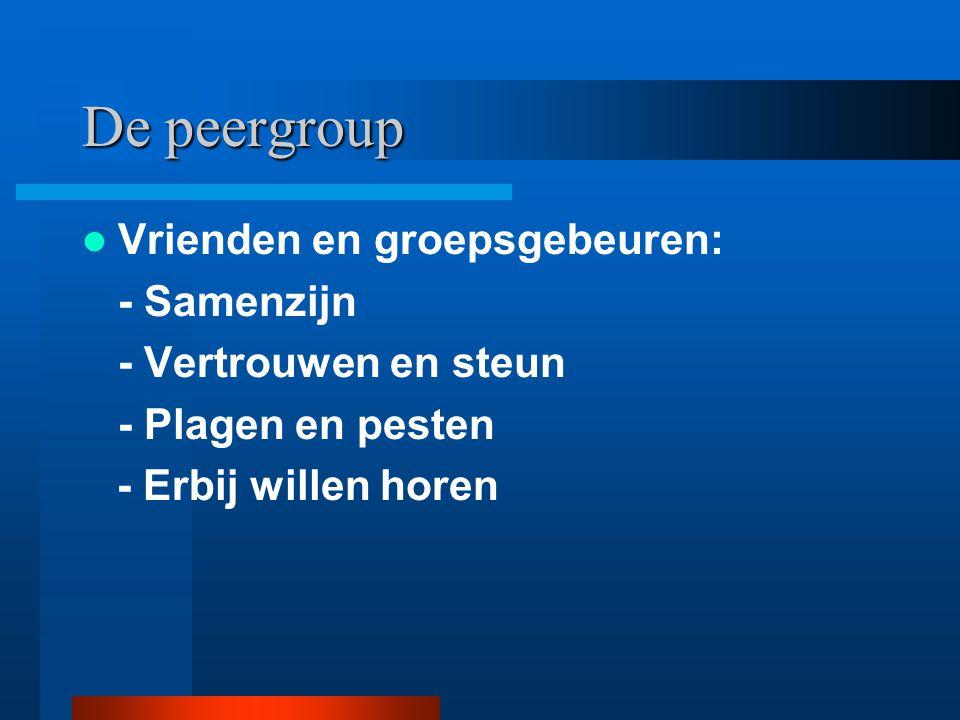 De peergroup Vrienden en groepsgebeuren: - Samenzijn - Vertrouwen en steun - Plagen en pesten - Erbij willen horen