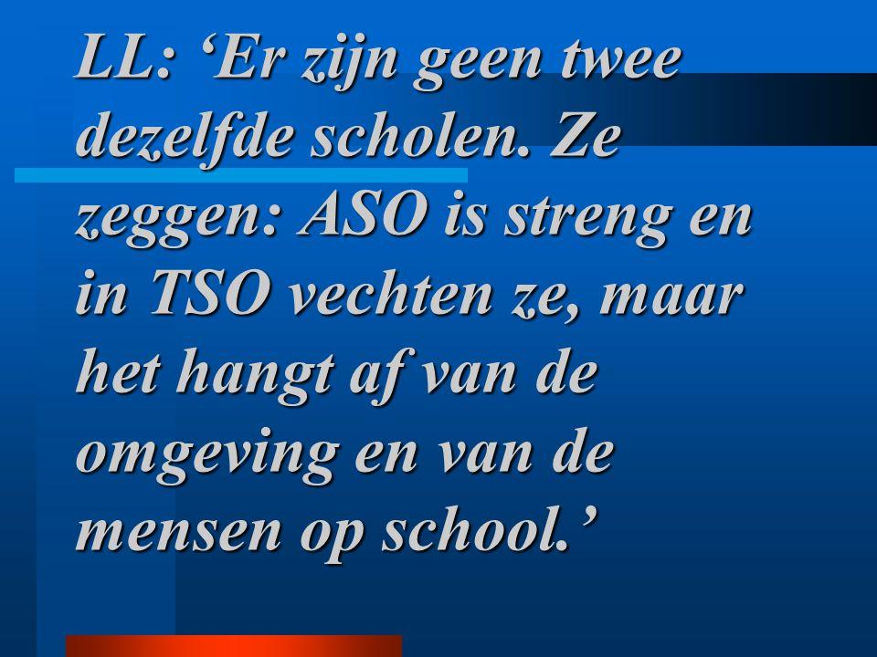 LL: 'Er zijn geen twee dezelfde scholen. Ze zeggen: ASO is streng en in TSO vechten ze, maar het hangt af van de omgeving en van de mensen op school.'