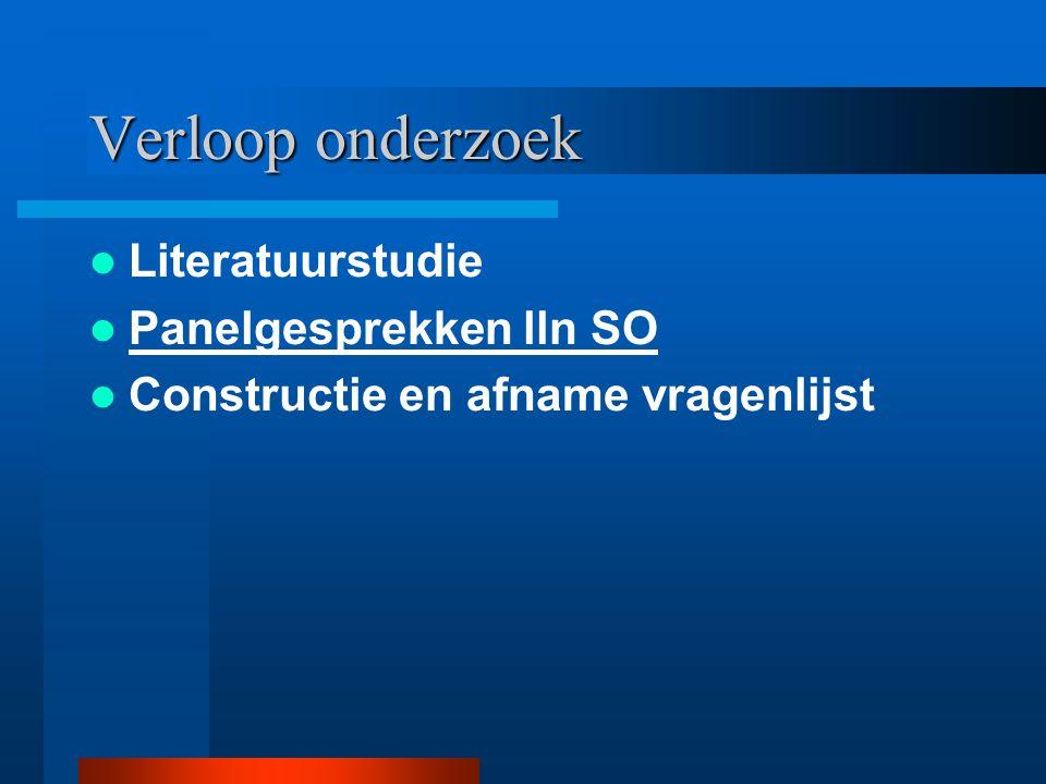 Verloop onderzoek Literatuurstudie Panelgesprekken lln SO Constructie en afname vragenlijst