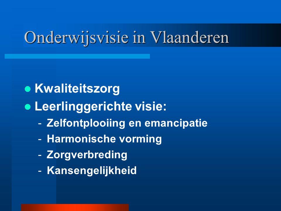 Onderwijsvisie in Vlaanderen Kwaliteitszorg Leerlinggerichte visie: -Zelfontplooiing en emancipatie -Harmonische vorming -Zorgverbreding -Kansengelijk