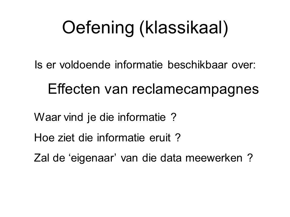Oefening (klassikaal) Is er voldoende informatie beschikbaar over: Effecten van reclamecampagnes Waar vind je die informatie ? Hoe ziet die informatie