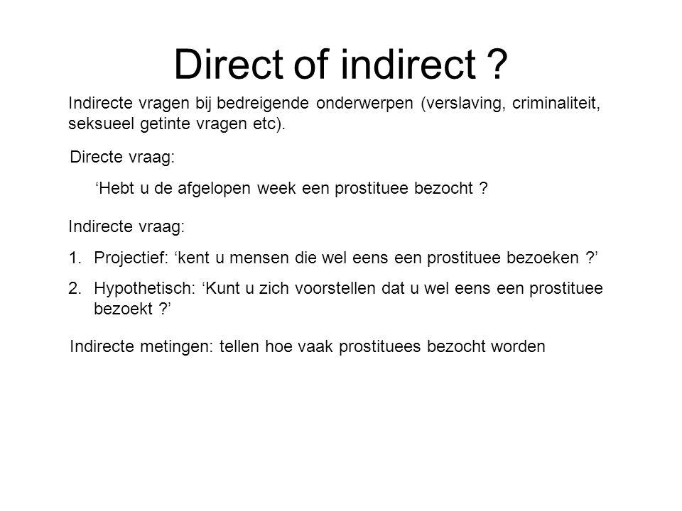 Direct of indirect ? Directe vraag: 'Hebt u de afgelopen week een prostituee bezocht ? Indirecte metingen: tellen hoe vaak prostituees bezocht worden