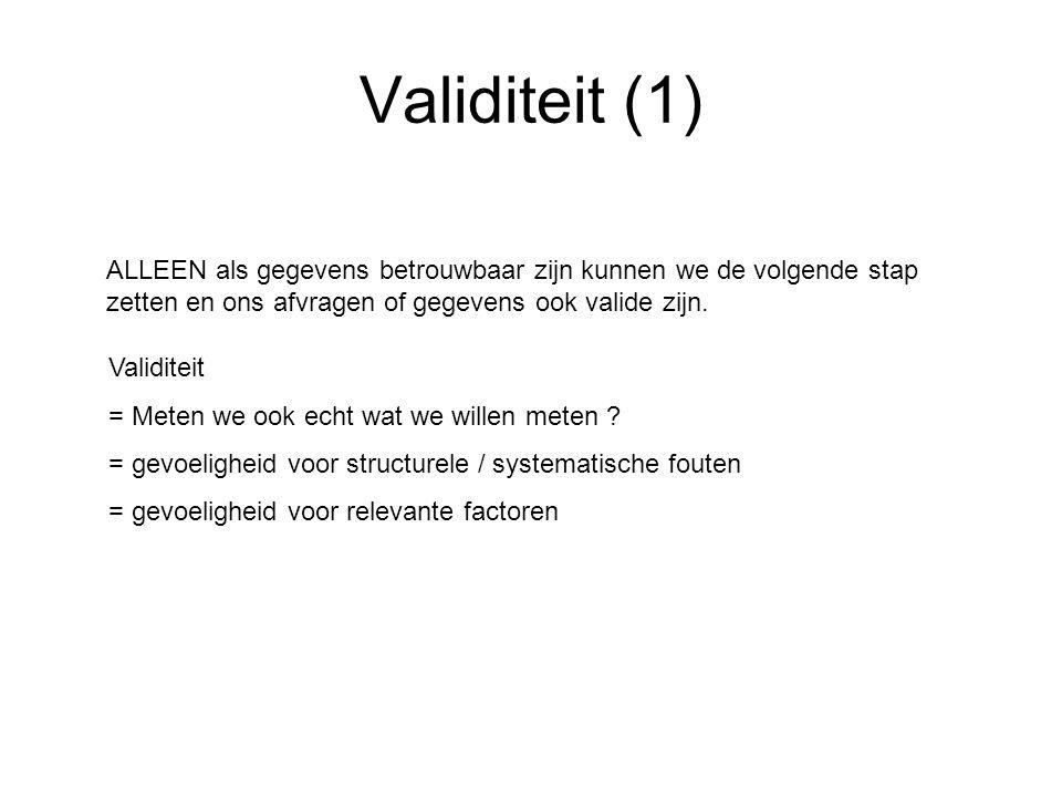 Validiteit (1) Validiteit = Meten we ook echt wat we willen meten ? = gevoeligheid voor structurele / systematische fouten = gevoeligheid voor relevan