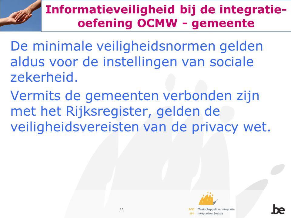 33 Informatieveiligheid bij de integratie- oefening OCMW - gemeente De minimale veiligheidsnormen gelden aldus voor de instellingen van sociale zekerh