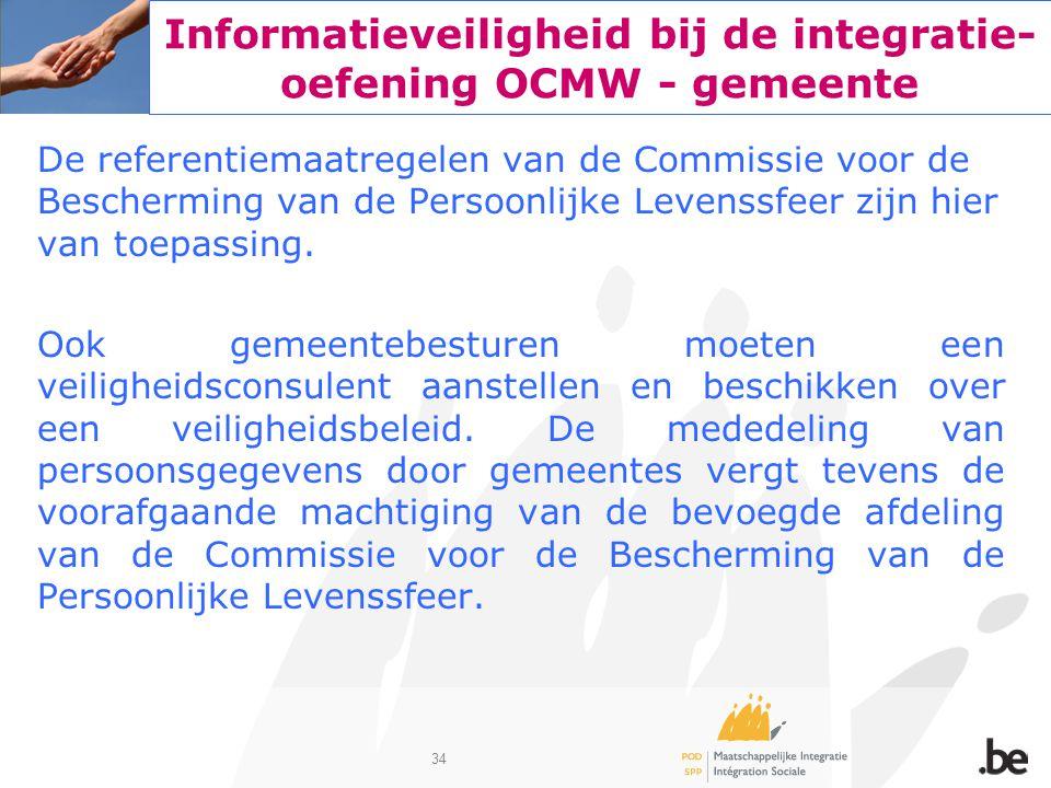 34 Informatieveiligheid bij de integratie- oefening OCMW - gemeente De referentiemaatregelen van de Commissie voor de Bescherming van de Persoonlijke