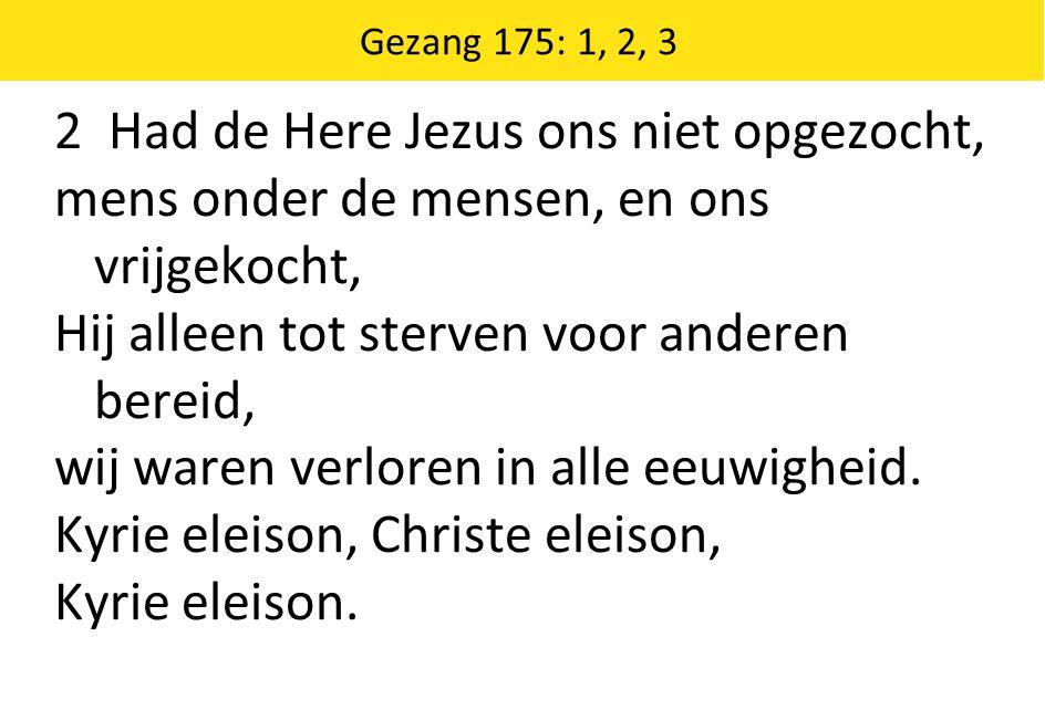 2 Had de Here Jezus ons niet opgezocht, mens onder de mensen, en ons vrijgekocht, Hij alleen tot sterven voor anderen bereid, wij waren verloren in al