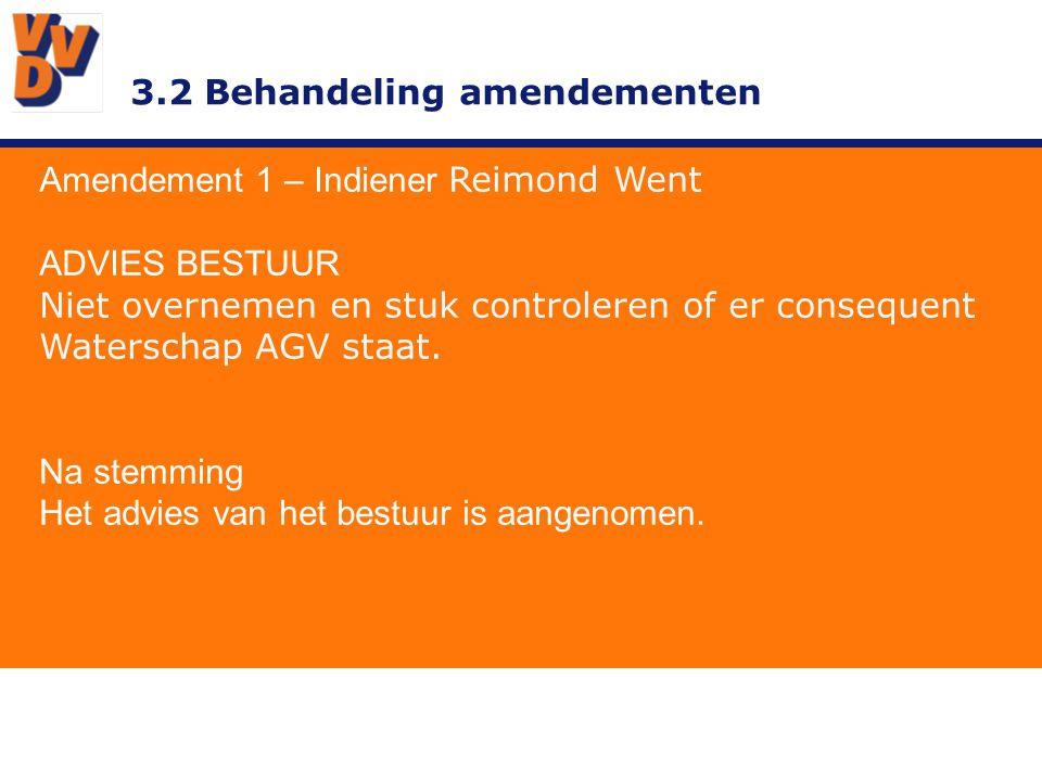 3.2 Behandeling amendementen Amendement 1 – Indiener Reimond Went ADVIES BESTUUR Niet overnemen en stuk controleren of er consequent Waterschap AGV staat.