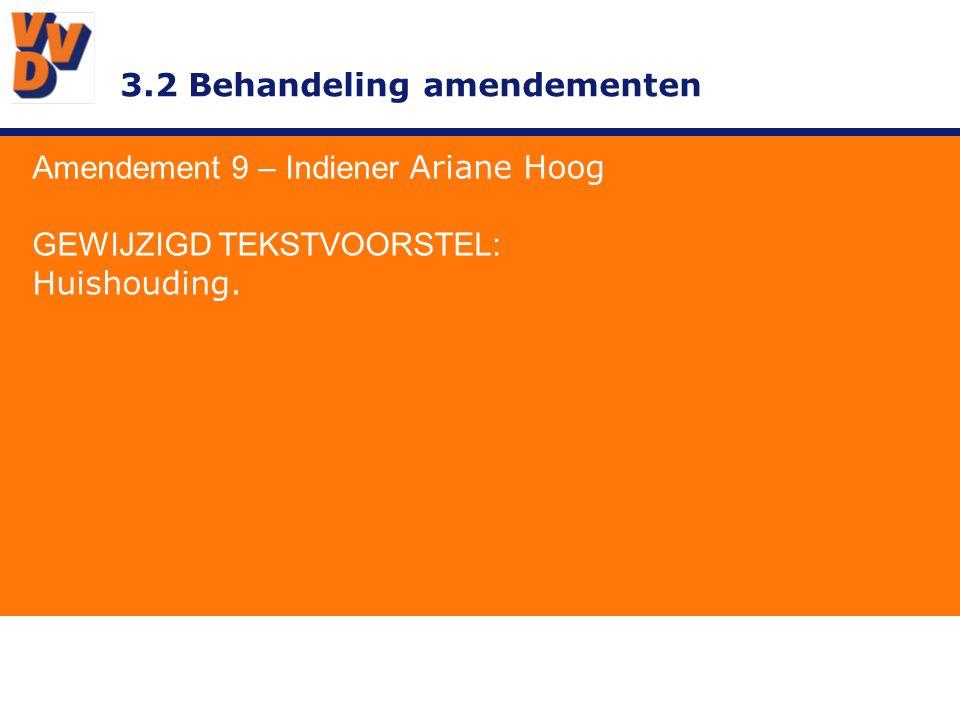 3.2 Behandeling amendementen Amendement 9 – Indiener Ariane Hoog GEWIJZIGD TEKSTVOORSTEL: Huishouding.
