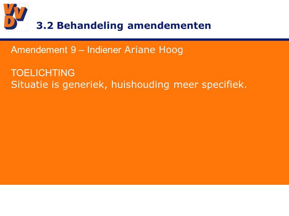 3.2 Behandeling amendementen Amendement 9 – Indiener Ariane Hoog TOELICHTING Situatie is generiek, huishouding meer specifiek.