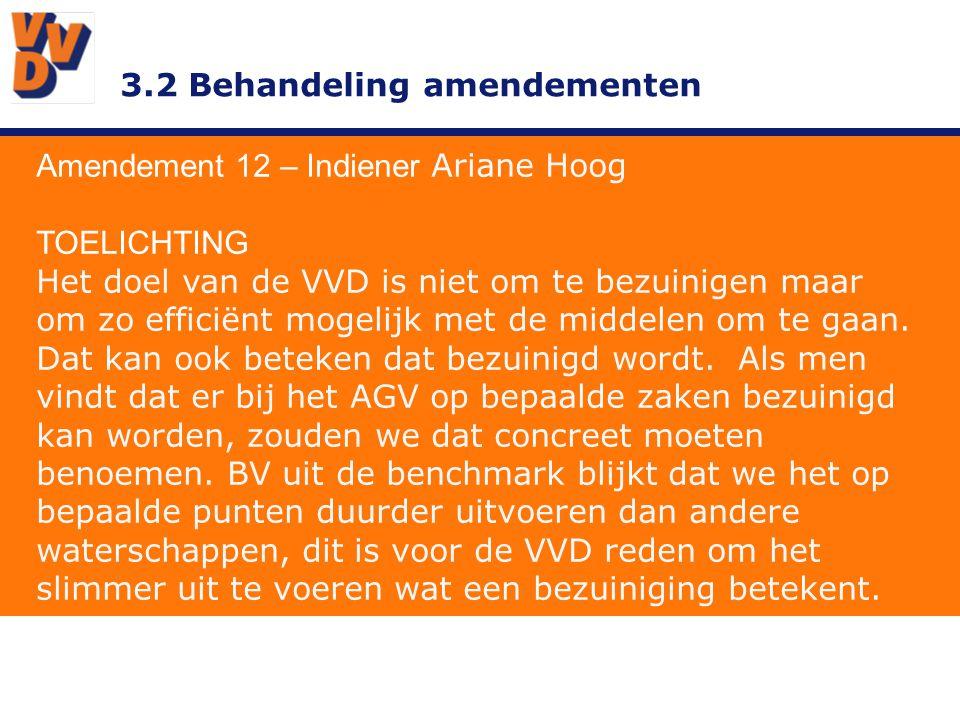 3.2 Behandeling amendementen Amendement 12 – Indiener Ariane Hoog TOELICHTING Het doel van de VVD is niet om te bezuinigen maar om zo efficiënt mogelijk met de middelen om te gaan.