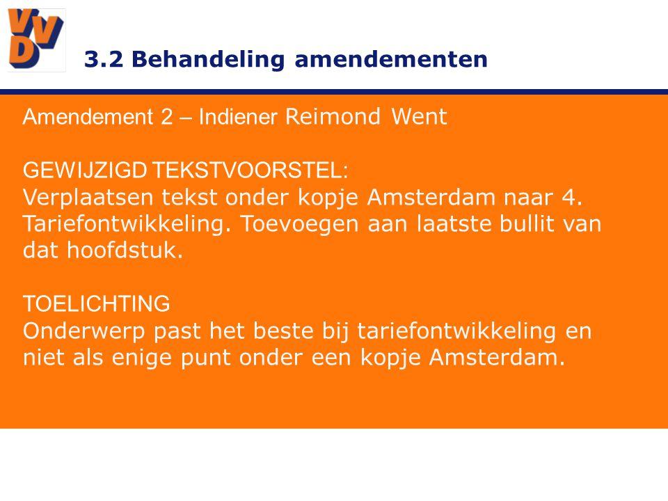 3.2 Behandeling amendementen Amendement 2 – Indiener Reimond Went GEWIJZIGD TEKSTVOORSTEL: Verplaatsen tekst onder kopje Amsterdam naar 4.