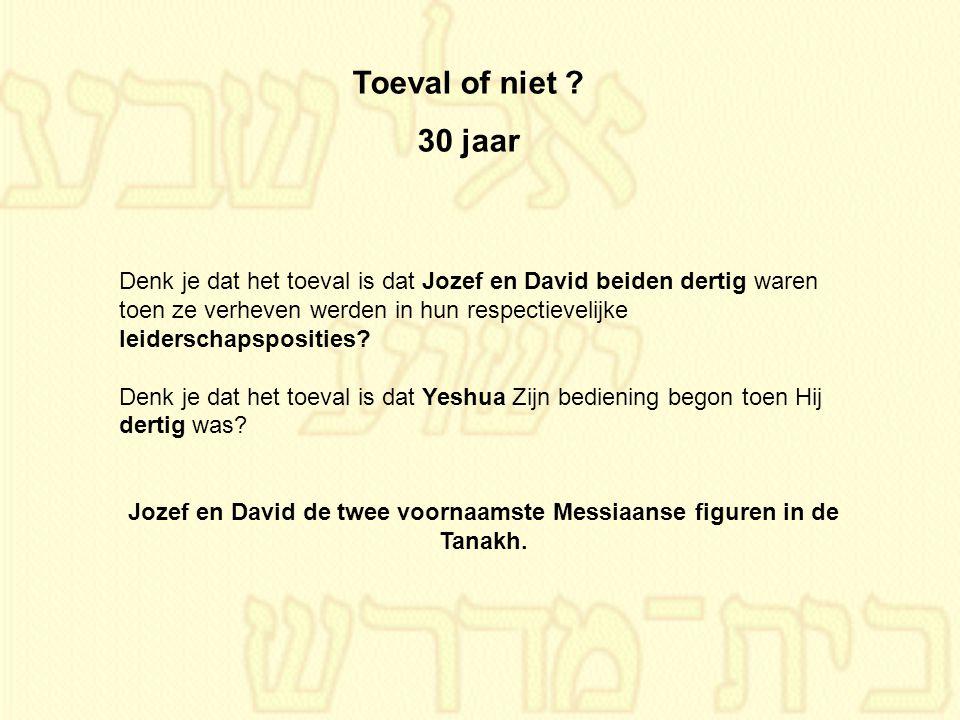 Toeval of niet ? 30 jaar Denk je dat het toeval is dat Jozef en David beiden dertig waren toen ze verheven werden in hun respectievelijke leiderschaps