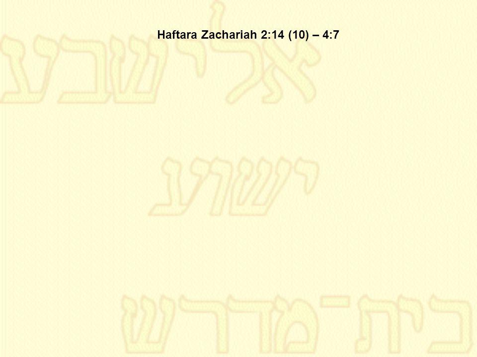 Haftara Zachariah 2:14 (10) – 4:7