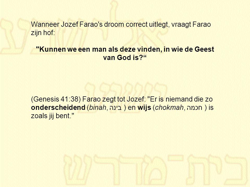 Wanneer Jozef Farao's droom correct uitlegt, vraagt Farao zijn hof: