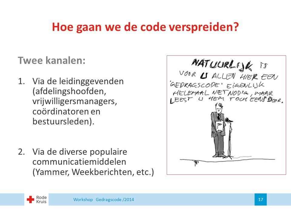 Workshop Gedragscode /2014 17 Twee kanalen: 1. Via de leidinggevenden (afdelingshoofden, vrijwilligersmanagers, coördinatoren en bestuursleden). 2. Vi