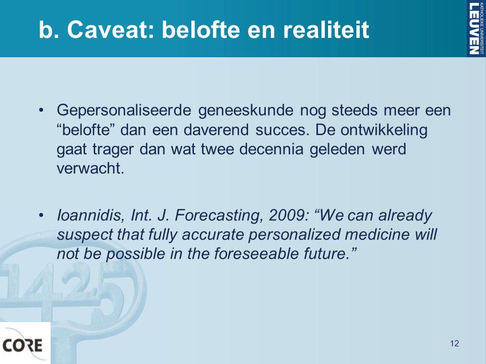 """b. Caveat: belofte en realiteit Gepersonaliseerde geneeskunde nog steeds meer een """"belofte"""" dan een daverend succes. De ontwikkeling gaat trager dan w"""