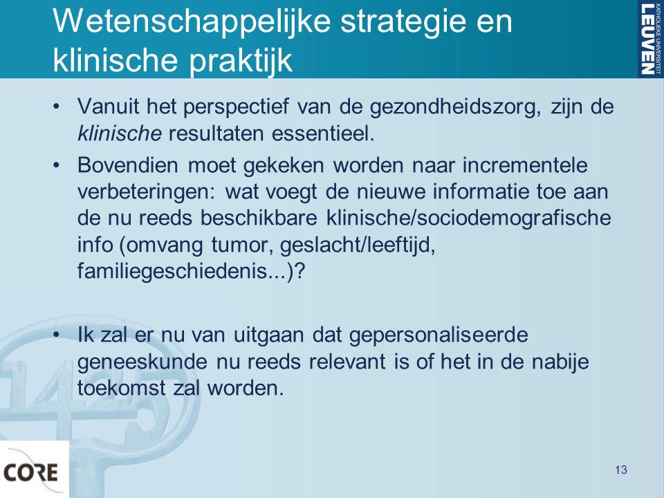 Wetenschappelijke strategie en klinische praktijk Vanuit het perspectief van de gezondheidszorg, zijn de klinische resultaten essentieel. Bovendien mo
