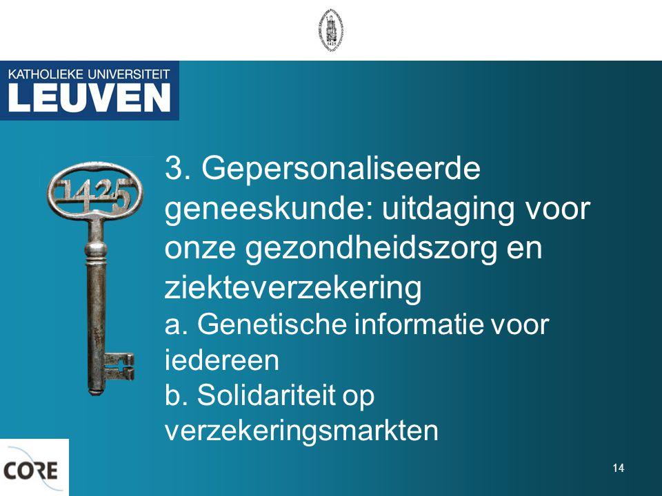 3. Gepersonaliseerde geneeskunde: uitdaging voor onze gezondheidszorg en ziekteverzekering a. Genetische informatie voor iedereen b. Solidariteit op v