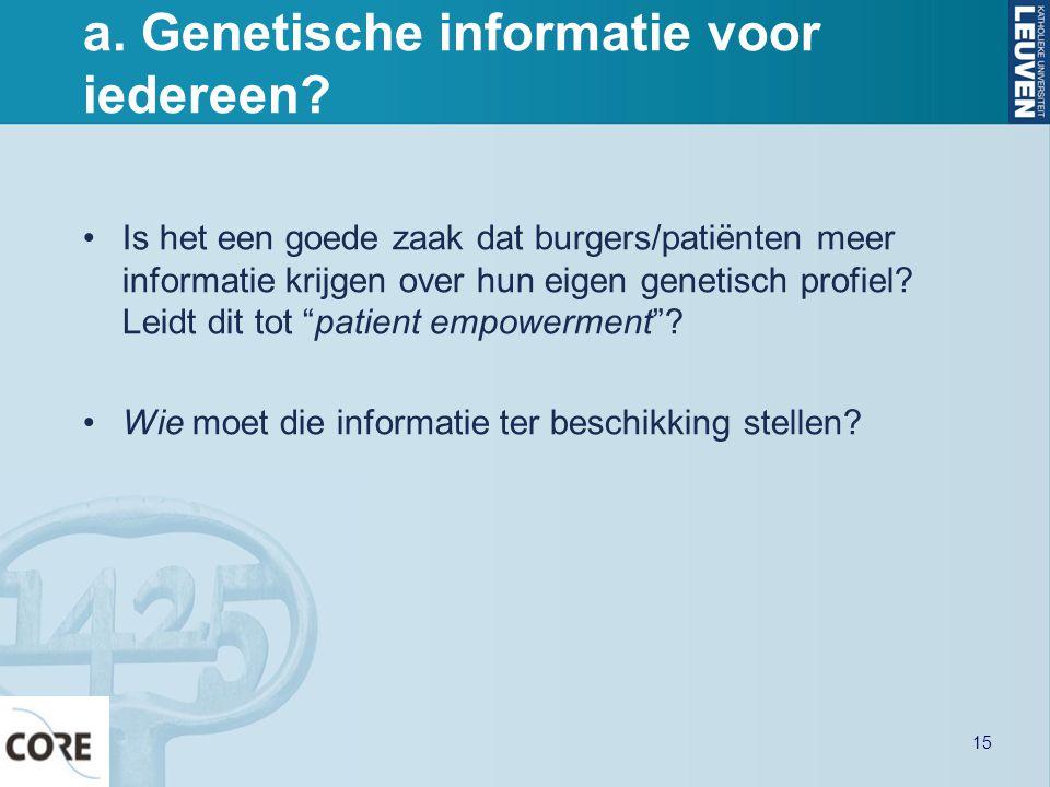 a. Genetische informatie voor iedereen? Is het een goede zaak dat burgers/patiënten meer informatie krijgen over hun eigen genetisch profiel? Leidt di