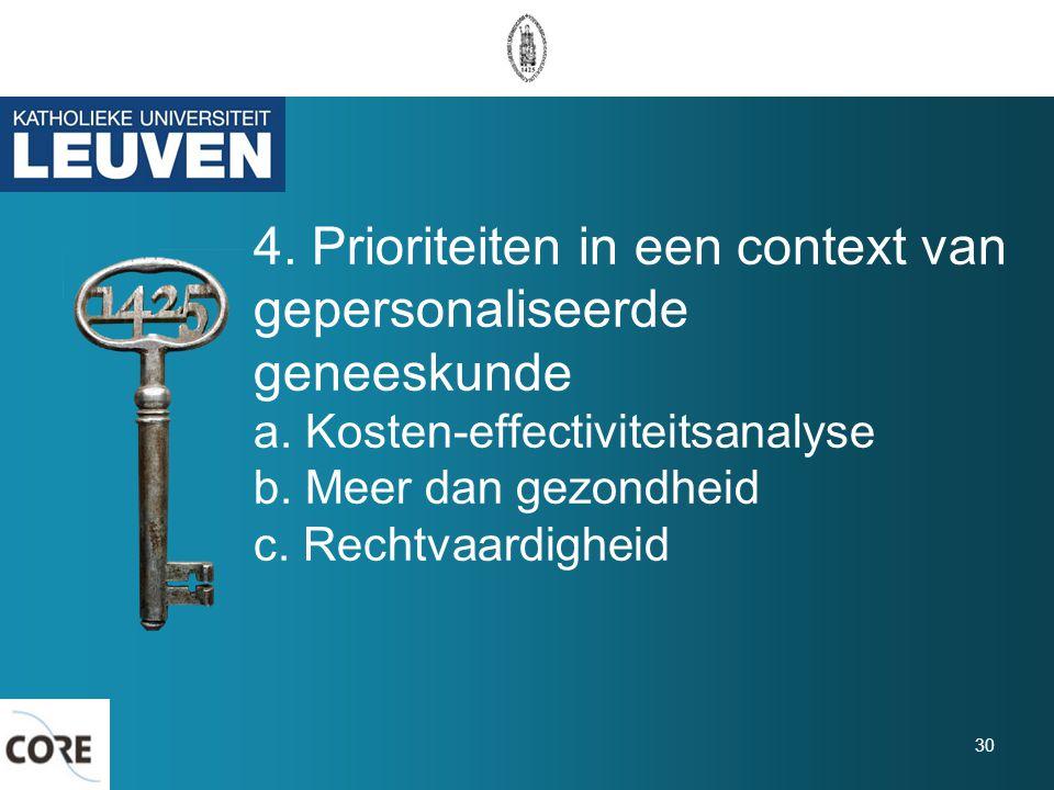 4. Prioriteiten in een context van gepersonaliseerde geneeskunde a. Kosten-effectiviteitsanalyse b. Meer dan gezondheid c. Rechtvaardigheid 30