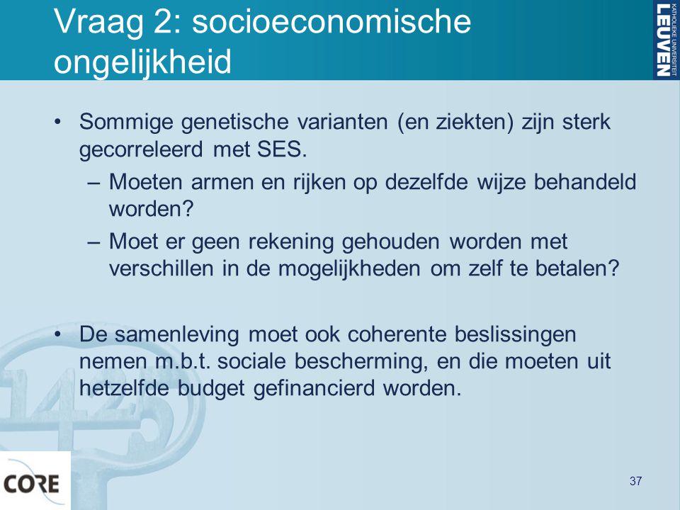 Vraag 2: socioeconomische ongelijkheid Sommige genetische varianten (en ziekten) zijn sterk gecorreleerd met SES. –Moeten armen en rijken op dezelfde