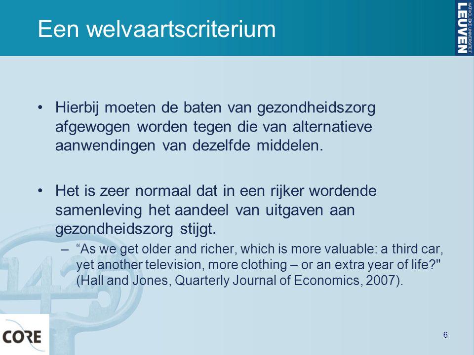 Een welvaartscriterium Hierbij moeten de baten van gezondheidszorg afgewogen worden tegen die van alternatieve aanwendingen van dezelfde middelen.