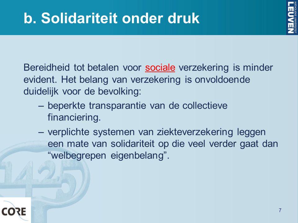 b. Solidariteit onder druk Bereidheid tot betalen voor sociale verzekering is minder evident. Het belang van verzekering is onvoldoende duidelijk voor