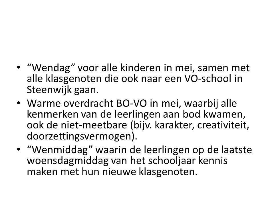 """""""Wendag"""" voor alle kinderen in mei, samen met alle klasgenoten die ook naar een VO-school in Steenwijk gaan. Warme overdracht BO-VO in mei, waarbij al"""