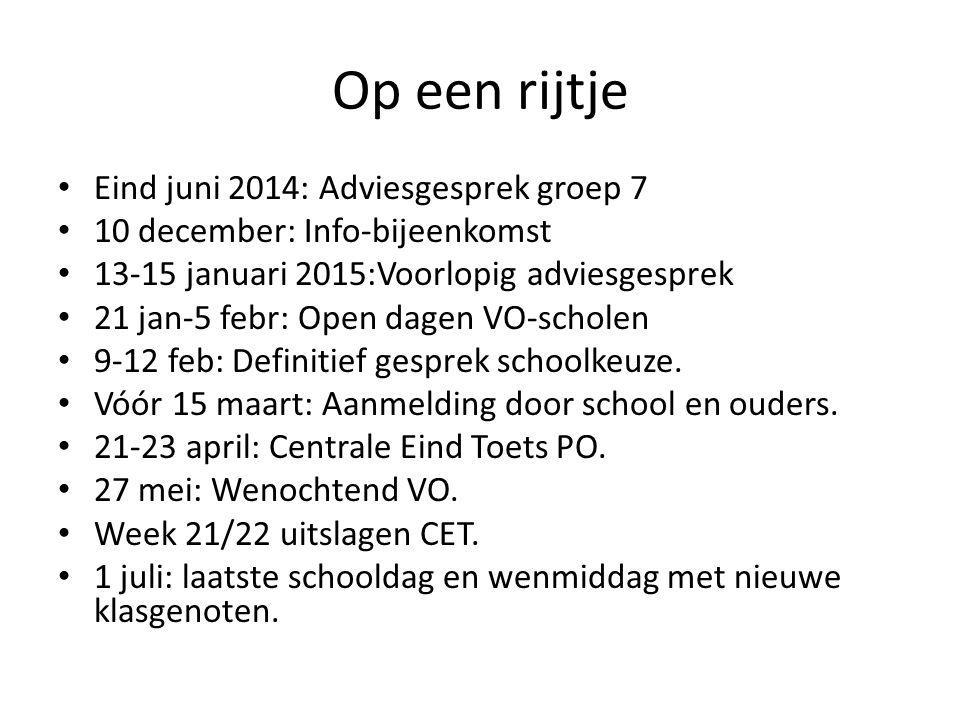 Op een rijtje Eind juni 2014: Adviesgesprek groep 7 10 december: Info-bijeenkomst 13-15 januari 2015:Voorlopig adviesgesprek 21 jan-5 febr: Open dagen
