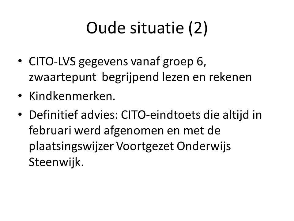 Oude situatie (2) CITO-LVS gegevens vanaf groep 6, zwaartepunt begrijpend lezen en rekenen Kindkenmerken. Definitief advies: CITO-eindtoets die altijd