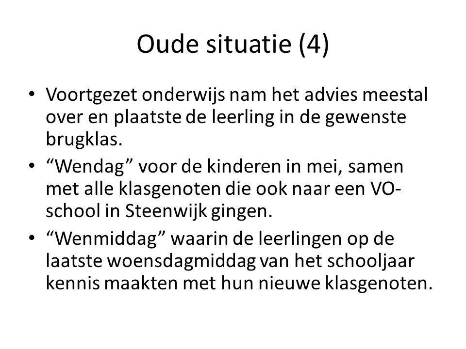 """Oude situatie (4) Voortgezet onderwijs nam het advies meestal over en plaatste de leerling in de gewenste brugklas. """"Wendag"""" voor de kinderen in mei,"""