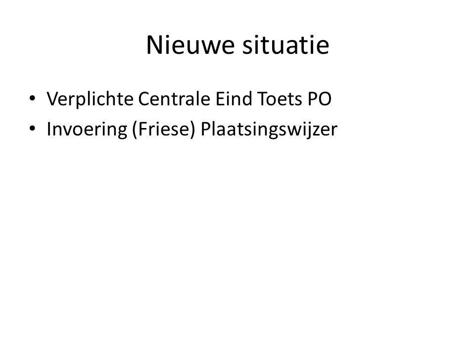 Nieuwe situatie Verplichte Centrale Eind Toets PO Invoering (Friese) Plaatsingswijzer