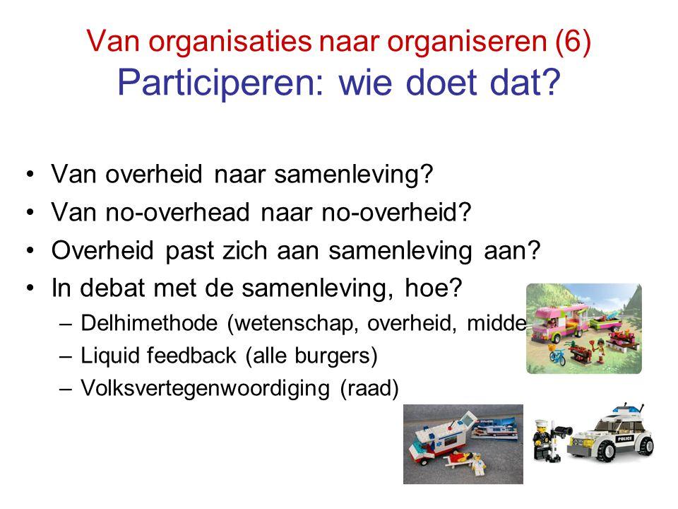 Van organisaties naar organiseren (6) Participeren: wie doet dat? Van overheid naar samenleving? Van no-overhead naar no-overheid? Overheid past zich