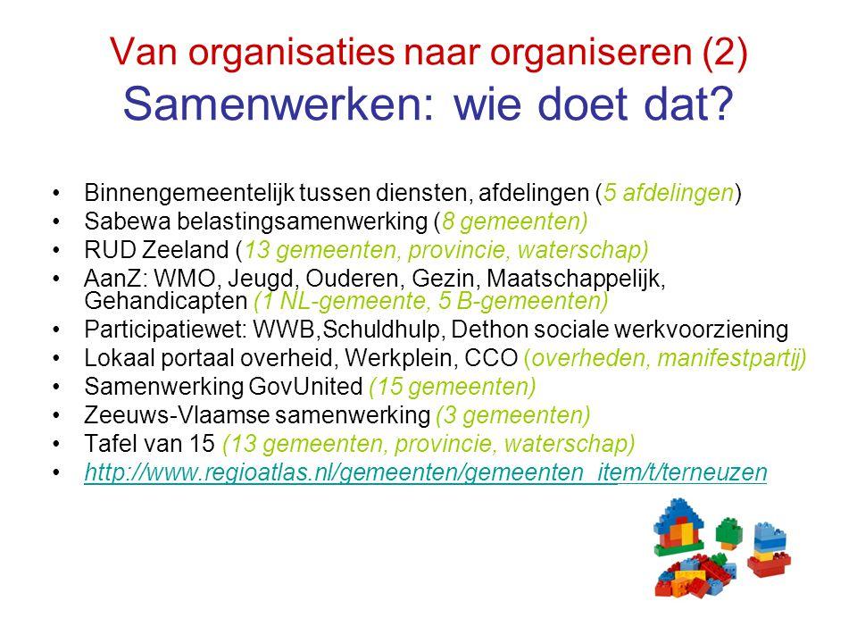 Van organisaties naar organiseren (2) Samenwerken: wie doet dat? Binnengemeentelijk tussen diensten, afdelingen (5 afdelingen) Sabewa belastingsamenwe