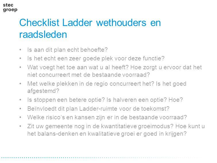 Checklist Ladder wethouders en raadsleden Is aan dit plan echt behoefte? Is het echt een zeer goede plek voor deze functie? Wat voegt het toe aan wat