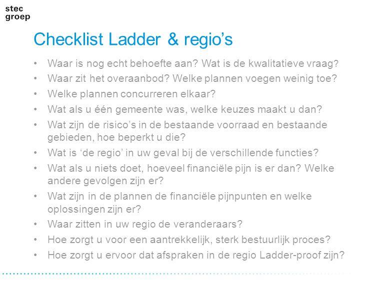 Checklist Ladder & regio's Waar is nog echt behoefte aan? Wat is de kwalitatieve vraag ? Waar zit het overaanbod? Welke plannen voegen weinig toe? Wel