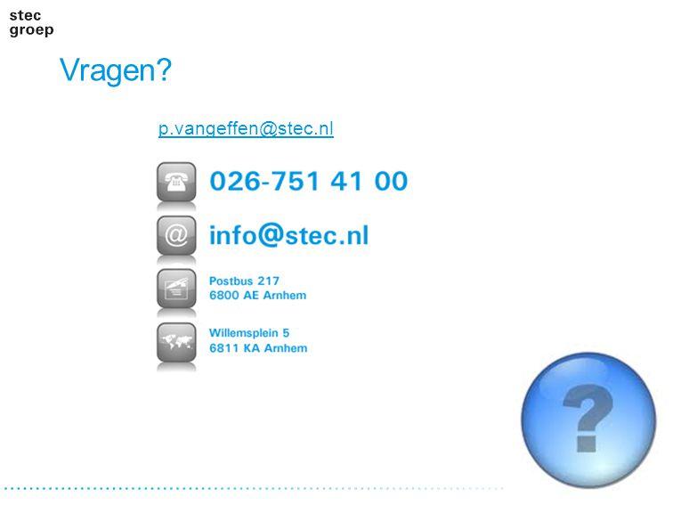 Vragen? p.vangeffen@stec.nl