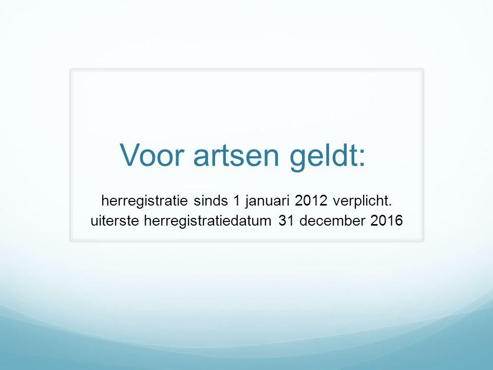 Voor artsen geldt: herregistratie sinds 1 januari 2012 verplicht.