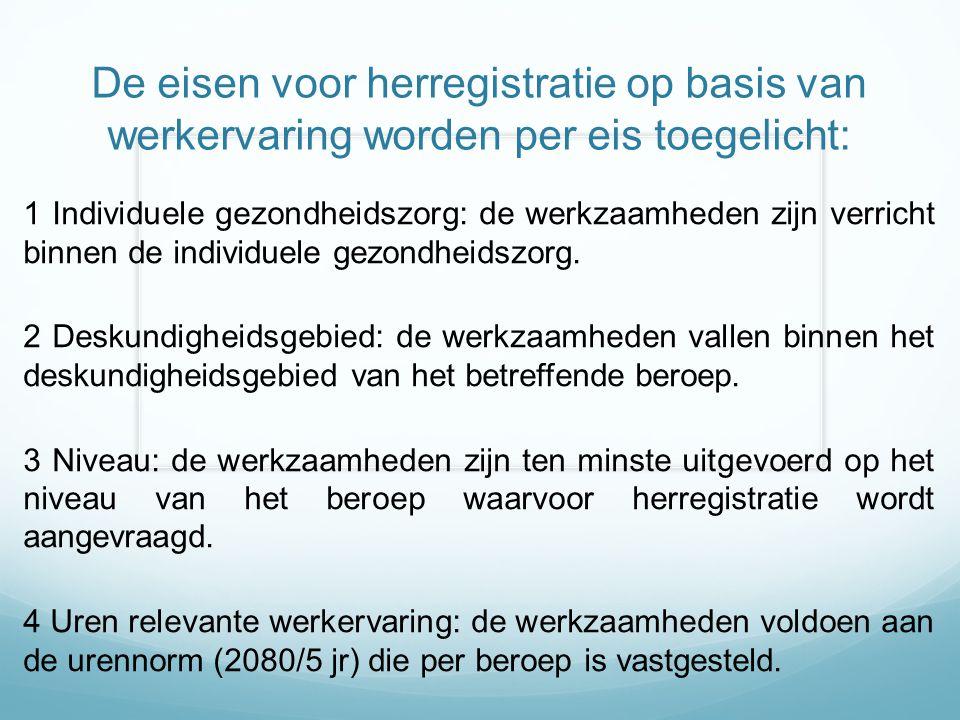 De eisen voor herregistratie op basis van werkervaring worden per eis toegelicht: 1 Individuele gezondheidszorg: de werkzaamheden zijn verricht binnen de individuele gezondheidszorg.