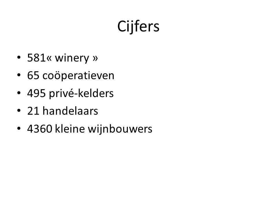 Cijfers 581« winery » 65 coöperatieven 495 privé-kelders 21 handelaars 4360 kleine wijnbouwers