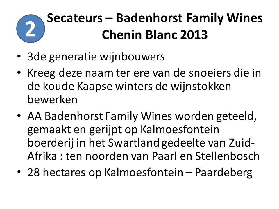 Secateurs – Badenhorst Family Wines Chenin Blanc 2013 3de generatie wijnbouwers Kreeg deze naam ter ere van de snoeiers die in de koude Kaapse winters